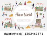 flower market poster with... | Shutterstock .eps vector #1303461571