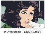 stock illustration. girl with... | Shutterstock .eps vector #1303462597