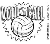 Doodle Style Volleyball Illustration Vector Format Stock Vector
