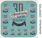 retro vintage style anniversary ... | Shutterstock .eps vector #130347101