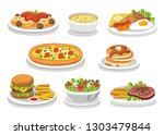 set of traditional food. let's... | Shutterstock .eps vector #1303479844
