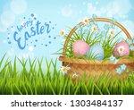 happy easter card. vector... | Shutterstock .eps vector #1303484137