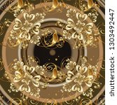 classic vector golden seamless... | Shutterstock .eps vector #1303492447