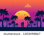 silhouettes of tropical summer... | Shutterstock .eps vector #1303498867
