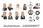 illustration set of young woman ... | Shutterstock .eps vector #1303498957