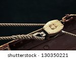 rope boat vintage wooden pulley ... | Shutterstock . vector #130350221