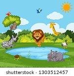 wild animal in nature... | Shutterstock .eps vector #1303512457