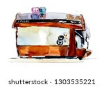 red coffee machine. watercolor... | Shutterstock . vector #1303535221
