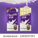 two tiles of white chocolate on ... | Shutterstock .eps vector #1303537291
