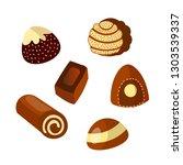 vector set of chocolate candies ... | Shutterstock .eps vector #1303539337