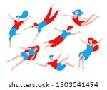 collection of people flying ... | Shutterstock .eps vector #1303541494