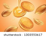 sandwich cookies and peanut... | Shutterstock .eps vector #1303553617