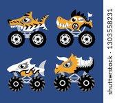 scary animal monster truck... | Shutterstock .eps vector #1303558231