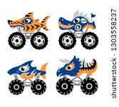 scary animal monster truck... | Shutterstock .eps vector #1303558237
