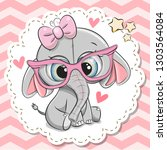 cute cartoon elephant girl in... | Shutterstock .eps vector #1303564084