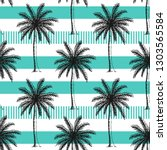 hand drawn palm trees seamless... | Shutterstock .eps vector #1303565584