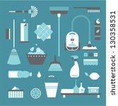 cleaning icons | Shutterstock .eps vector #130358531