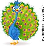 peacock cartoon | Shutterstock .eps vector #130358639