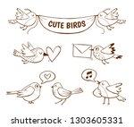 hand drawn cute bird icons ... | Shutterstock .eps vector #1303605331