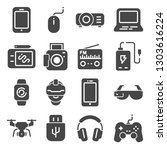 gadget gray icons set. joystick ... | Shutterstock .eps vector #1303616224