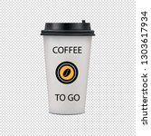 realistic coffee paper cup with ... | Shutterstock .eps vector #1303617934
