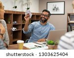 cheerful mature business man... | Shutterstock . vector #1303625404