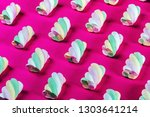 colorful marshmallow is laid... | Shutterstock . vector #1303641214