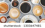 assorted coffee cups on a... | Shutterstock . vector #1303647481