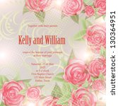 invitation or wedding card with ... | Shutterstock .eps vector #130364951