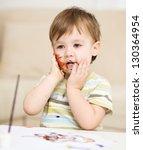 portrait of a cute little boy... | Shutterstock . vector #130364954