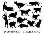 Stock vector a cat silhouettes pet animals graphics set 1303654147
