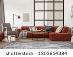 silver painting on white wall... | Shutterstock . vector #1303654384