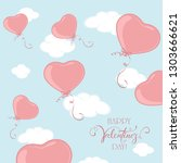 red valentine balloons in the... | Shutterstock . vector #1303666621