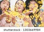 happy asian friends having fun... | Shutterstock . vector #1303669984