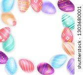 bunch of assorted colored eggs... | Shutterstock .eps vector #1303680001