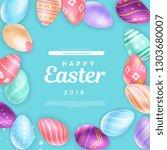 cute happy easter 2019... | Shutterstock .eps vector #1303680007
