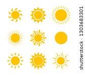 yellow sun icon set isolated on ... | Shutterstock .eps vector #1303683301