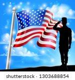 a patriotic soldier saluting... | Shutterstock . vector #1303688854