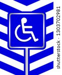 disabled signs on frame blue... | Shutterstock .eps vector #1303702981