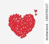 heart shape from small paper... | Shutterstock .eps vector #1303705117
