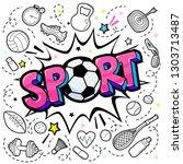 concept of sport. comic speech... | Shutterstock .eps vector #1303713487