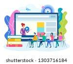 online training  group lessons ... | Shutterstock .eps vector #1303716184