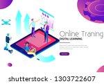 men using modern gadgets for...   Shutterstock .eps vector #1303722607