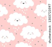 seamless pattern with pretty... | Shutterstock .eps vector #1303723597