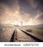Long Railroad At The Sunrise