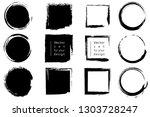 set of black paint  ink brush... | Shutterstock .eps vector #1303728247