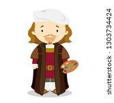 rembrandt cartoon character.... | Shutterstock .eps vector #1303734424