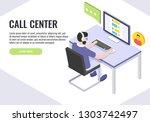 concept of call center. ... | Shutterstock .eps vector #1303742497