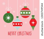 colorful christmas baubles... | Shutterstock .eps vector #1303749544