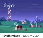 landscape wireless tower.... | Shutterstock .eps vector #1303749664